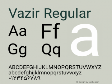 Vazir Regular Version 4.0.0; ttfautohint (v1.4.1.5-446e) Font Sample