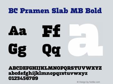 BC Pramen Slab MB Bold Version 1.000 Font Sample
