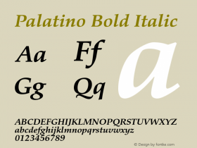 Palatino Bold Italic Version 1.60     03/31/2014 Font Sample