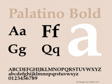 Palatino Bold Version 1.60     03/31/2014 Font Sample