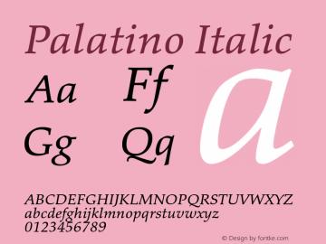 Palatino Italic Version 1.60     03/31/2014 Font Sample