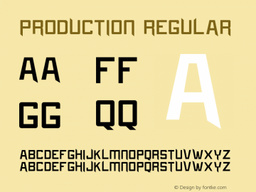 Production Regular Version 1.000 Font Sample