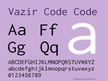 Vazir Code Code Version 1.0.1; ttfautohint (v1.4.1.5-446e) Font Sample