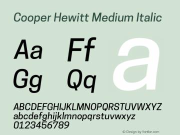 Cooper Hewitt Medium Italic 1.000 Font Sample