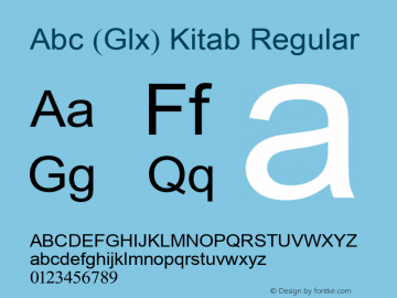 Abc (Glx) Kitab Regular Version 2.01 2000.7 Font Sample