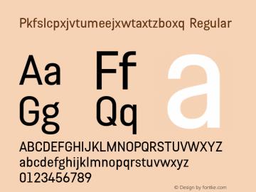 Pkfslcpxjvtumeejxwtaxtzboxq Regular Version 1.001 Font Sample