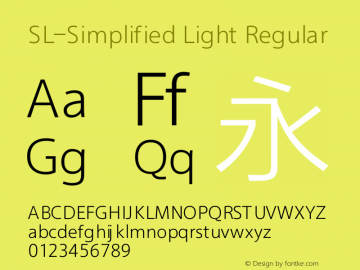 SL-Simplified Light Regular Version 1.00 July 24, 2016, initial release Font Sample