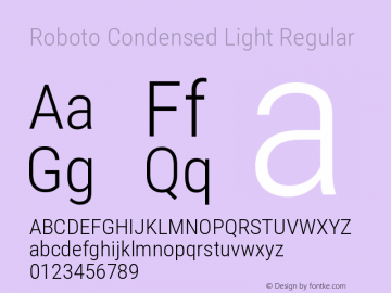 Roboto Condensed Light Regular Version 2.132; 2016图片样张