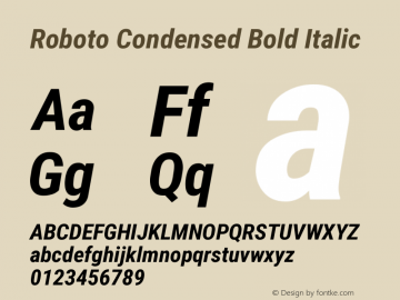 Roboto Condensed Bold Italic Version 2.132; 2016 Font Sample