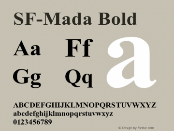 SF-Mada Bold Version 1.00 August 2, 2016, initial release Font Sample