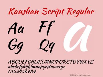 Kaushan Script Regular Version 1.002; ttfautohint (v1.4.1) Font Sample