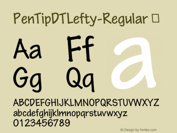 PenTipDTLefty-Regular ☞ Version 1.00 CFF OTF. DTP Types Limited Oct 07 2008;com.myfonts.easy.dtptypes.pen-tip-dt-lefty.regular.wfkit2.version.3aN5 Font Sample