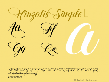HinzatisSimple ☞ Version 1.00 July 14, 2016, initial release;com.myfonts.easy.agasilva.hinzatis.simple.wfkit2.version.4Cac Font Sample