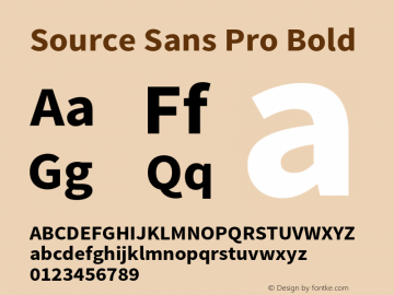 Source Sans Pro Bold Version 1.040;PS 1.000;hotconv 1.0.70;makeotf.lib2.5.5900 Font Sample