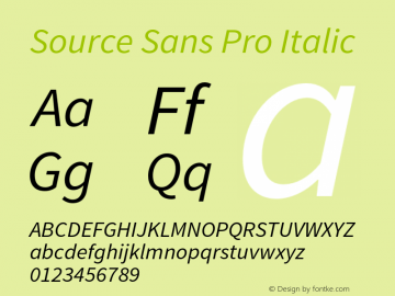 Source Sans Pro Italic Version 1.040;PS 1.000;hotconv 1.0.70;makeotf.lib2.5.5900 Font Sample