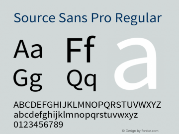 Source Sans Pro Regular Version 1.040;PS 1.000;hotconv 1.0.70;makeotf.lib2.5.5900 Font Sample