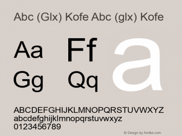 Abc (Glx) Kofe Abc (glx) Kofe Version 1.0 by Glx 2000.71 Font Sample