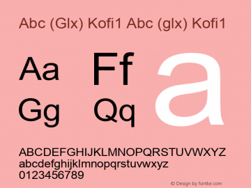 Abc (Glx) Kofi1 Abc (glx) Kofi1 Abc (Glx) Kofi1 Font Sample