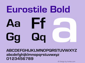 Eurostile Bold Version 1.10 Font Sample