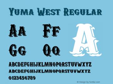 Yuma West Regular Version 1.000; wf-X by Blackyblack Font Sample