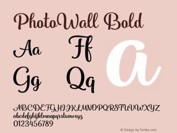 PhotoWall Bold Version 1.000 Font Sample