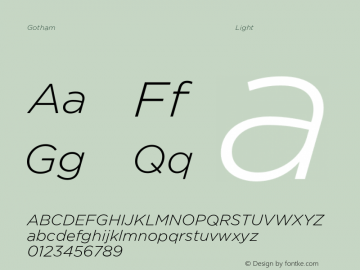 Gotham Light Italic Version 3.301图片样张