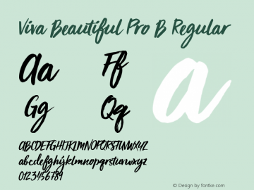 Viva Beautiful Pro B Regular Version 1.000 Font Sample