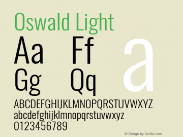Oswald Light 3.0; ttfautohint (v0.95) -l 8 -r 50 -G 200 -x 0 -w
