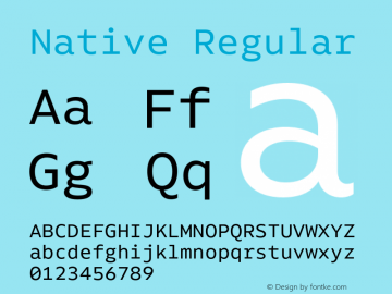 Native Regular Version 1.000;PS 001.000;hotconv 1.0.88;makeotf.lib2.5.64775 Font Sample