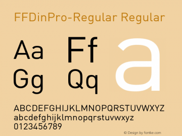 FFDinPro-Regular Regular Version 7.504; 2009; Build 1023; Font Sample