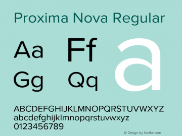 Proxima Nova Regular Version 3.003 Font Sample