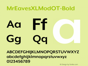MrEavesXLModOT-Bold ☞ Version 1.100;PS 001.100;hotconv 1.0.57;makeotf.lib2.0.21895;com.myfonts.easy.emigre.mr-eaves-xl-modern-opentype.ot-bold.wfkit2.version.3FK7图片样张