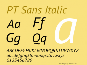 PT Sans Italic Version 2.005 Font Sample