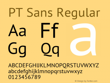 PT Sans Regular Version 2.005 Font Sample