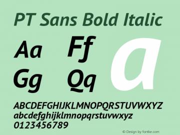 PT Sans Bold Italic Version 2.005 Font Sample
