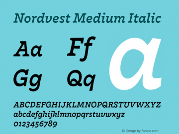 Nordvest Medium Italic Version 1.000;PS 1.000;hotconv 1.0.86;makeotf.lib2.5.63406 Font Sample