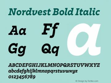 Nordvest Bold Italic Version 1.000;PS 1.000;hotconv 1.0.86;makeotf.lib2.5.63406 Font Sample
