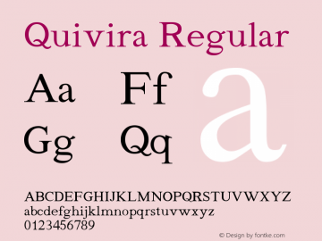 Quivira Regular Version 4.1 Font Sample