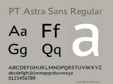 PT Astra Sans Regular Version 1.001; ttfautohint (v1.4.1) Font Sample