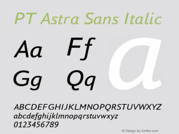 PT Astra Sans Italic Version 1.001; ttfautohint (v1.4.1) Font Sample
