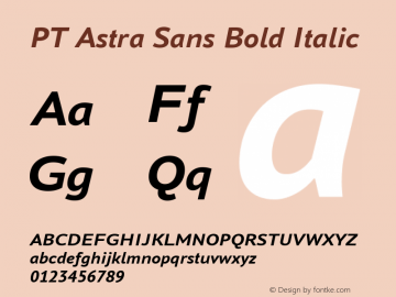 PT Astra Sans Bold Italic Version 1.001; ttfautohint (v1.4.1) Font Sample