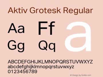 Aktiv Grotesk Regular Version 2.003 Font Sample