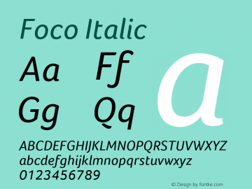 Foco Italic Version 1.101 Font Sample