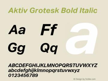 Aktiv Grotesk Bold Italic Version 2.003 Font Sample