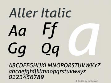 Aller Italic Version 1.010 Font Sample