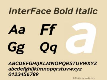 InterFace Bold Italic Version 2.001图片样张