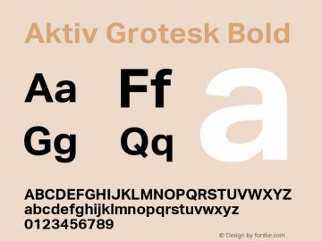 Aktiv Grotesk Bold Version 2.003 Font Sample