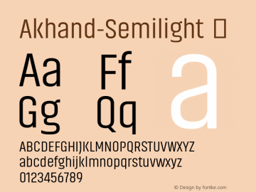 Akhand-Semilight ☞ Version 1.001;PS 1.0;hotconv 1.0.79;makeotf.lib2.5.61930;com.myfonts.easy.indian-type-foundry.akhand.semilight.wfkit2.version.4mm4 Font Sample