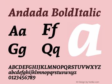Andada BoldItalic Version 1.003 Font Sample