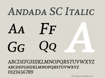 Andada SC Italic Version 1.003 Font Sample